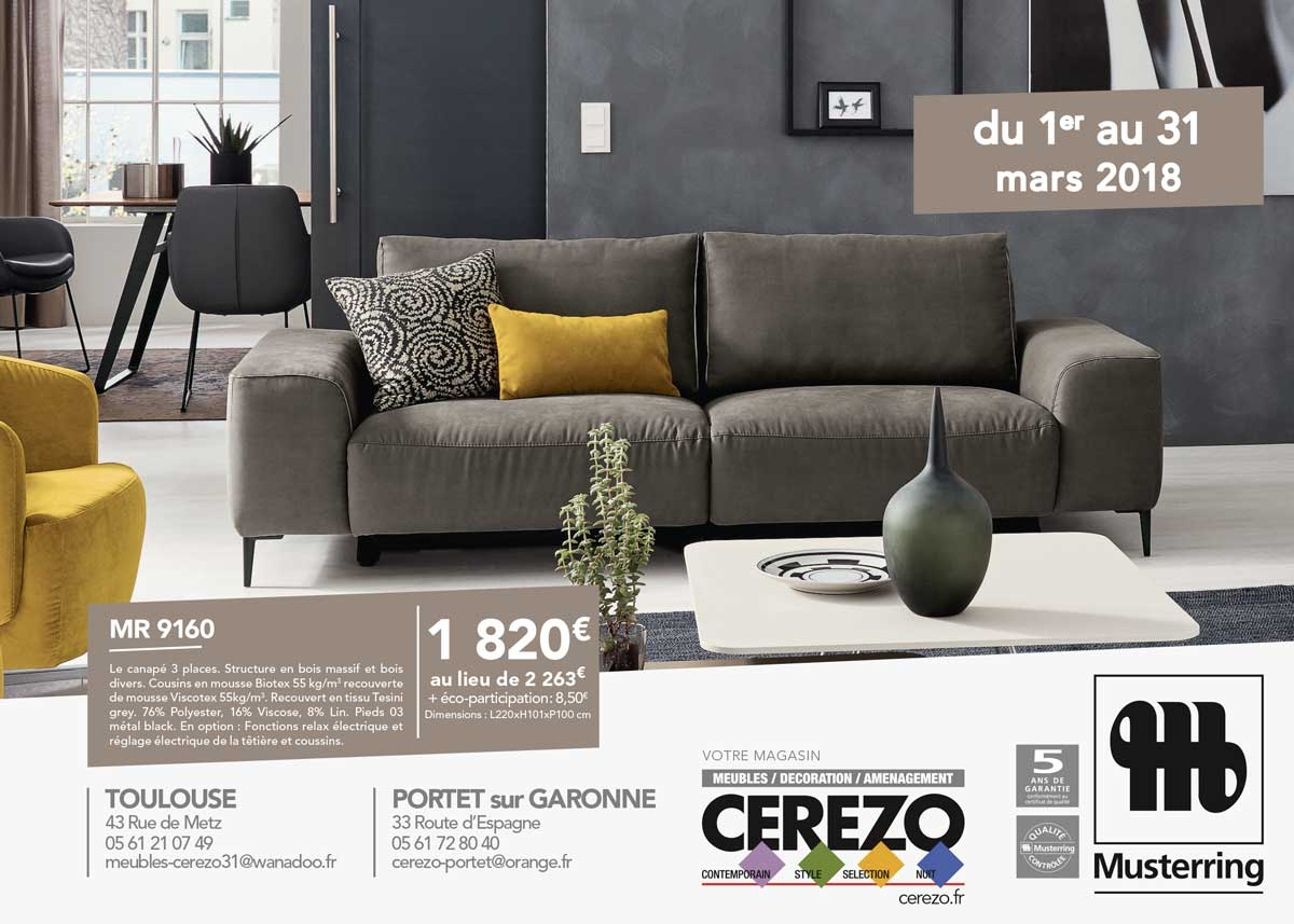 cerezo meubles decoration amenagement interieur design contemporain toulouse salon chaise canape fauteuil musterring promotion 2