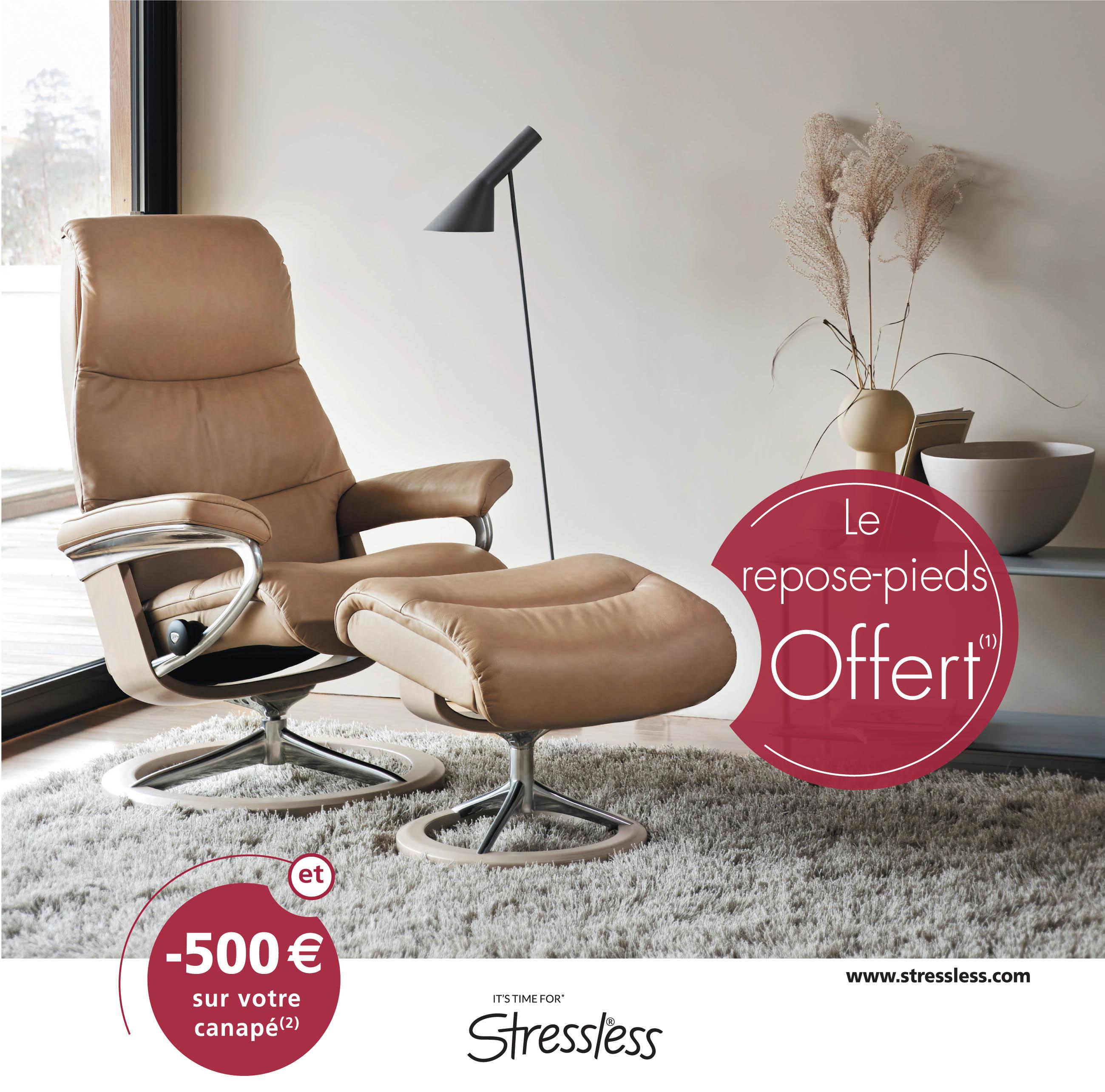 Avec Stressless, il est temps d'en profiter Le repose-pied offert (1) et -500 € sur votre canapé (2)