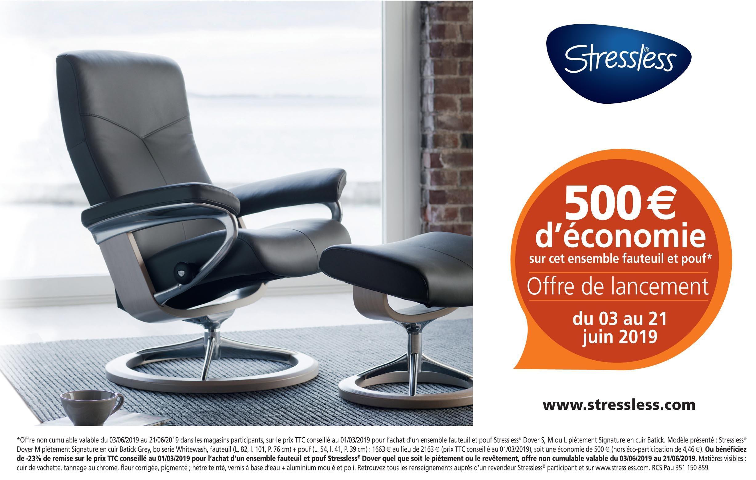 Stressless, Offre de lancement 500€ d'économie sur un ensemble fauteuil et pouf Dover S, M ou L piétement Signature en cuir Batick